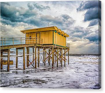 Canvas Print featuring the photograph Storm Clouds Over The Ocean by Nick Zelinsky