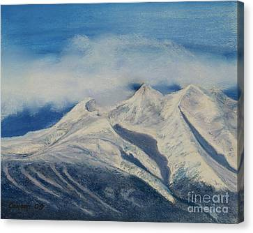 Canvas Print featuring the painting Storm Clouds Over Winter Mountain Blues by Stanza Widen
