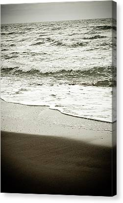 Canvas Print featuring the photograph Storm Coast Black And White by Frank Tschakert