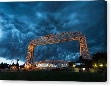 Duluth Canal Park Canal Park Lighthouse Lighthouse Lake Superior Minnesota Canvas Print - Storm Front by Alex Ganeev