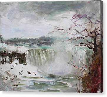 Storm In Niagara Falls  Canvas Print by Ylli Haruni