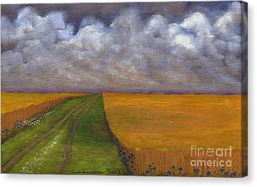 Polish Folk Art Canvas Print - Storm Is Coming by Anna Folkartanna Maciejewska-Dyba
