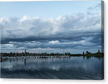 Turbulent Skies Canvas Print - Storm Is Coming - Turbulent Sky And Yachts by Georgia Mizuleva