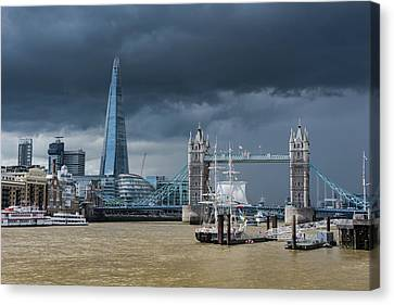 Canvas Print featuring the photograph Storm Looming Over The Shard And Tower Bridge by Gary Eason