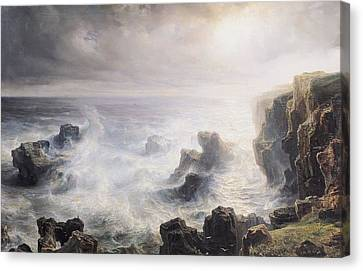Storm Off The Coast Of Belle Ile Canvas Print by Jean Antoine Theodore Gudin