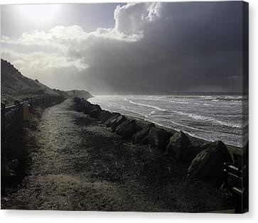 Storm On Strandhill Canvas Print by Amy Williams