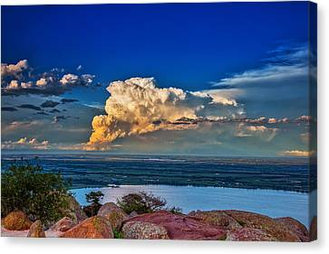 Canvas Print featuring the photograph Storm On The Horizon by James Menzies