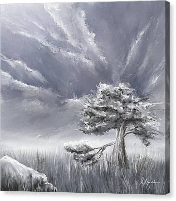 Storm Over Hayfield- Navy And Gray Art- Hayfield Art Canvas Print by Lourry Legarde