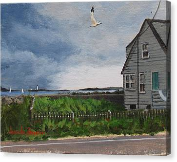 New England Lighthouse Canvas Print - Storm Over Hull by Laura Lee Zanghetti