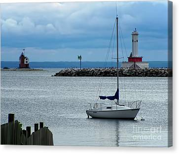 Storm Canvas Print - Storm Over Mackinac by Pamela Baker