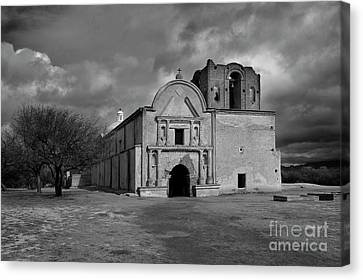 Canvas Print featuring the photograph Storm Over Tumacacori II by Sandra Bronstein