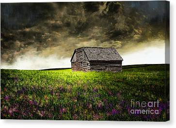 Barn Storm Canvas Print - Storm Skies Over The Barn by J Marielle