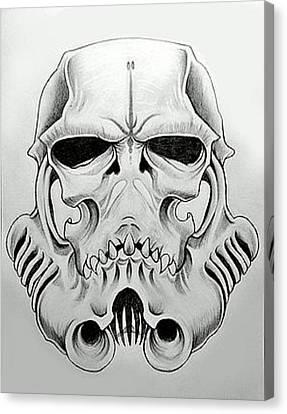Storm Trooper Skull  Canvas Print by Justin Boysko