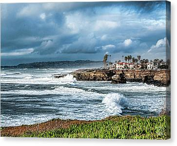 Storm Wave At Sunset Cliffs Canvas Print by Daniel Hebard