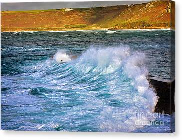 Sennen Cove Canvas Print - Storm Wave by Louise Heusinkveld
