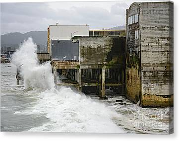 Canvas Print featuring the photograph Storm Waves Hit Aeneas Ruins At Cannery Row by Susan Wiedmann