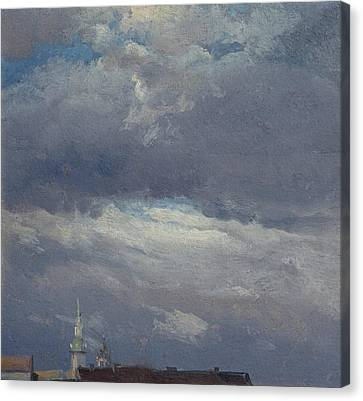 Stormclouds Over The Castle Tower In Dresden Canvas Print by Johan Christian Dahl