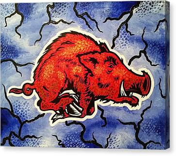 Stormin' Hog Canvas Print by Russten Johnson
