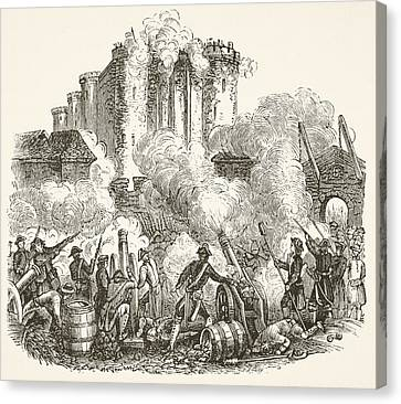 Storming Of The Bastille In Paris 14 Canvas Print by Vintage Design Pics