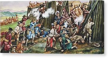 Storming Of The Fortress Of Neoheroka Canvas Print by Ron Embleton