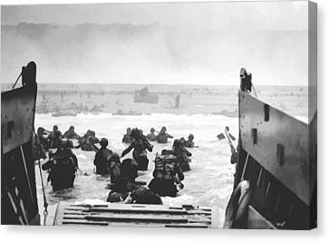 Storming The Beach On D-day  Canvas Print