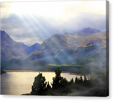 Storms A Coming-lower Two Medicine Lake Canvas Print by Marty Koch