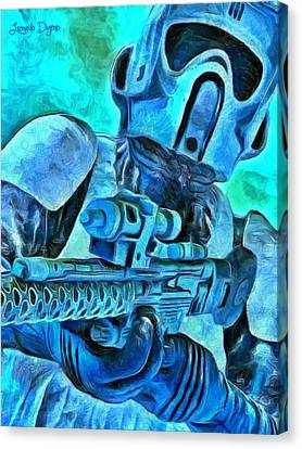 Stormtrooper And Weapon - Pa Canvas Print by Leonardo Digenio