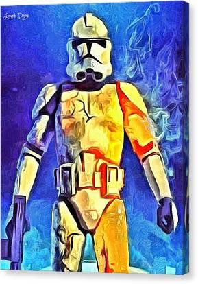 Fett Canvas Print - Stormtrooper Commander - Da by Leonardo Digenio