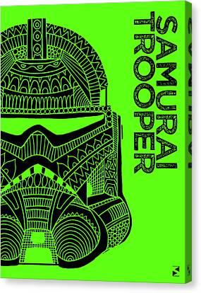Stormtrooper Helmet - Green - Star Wars Art Canvas Print