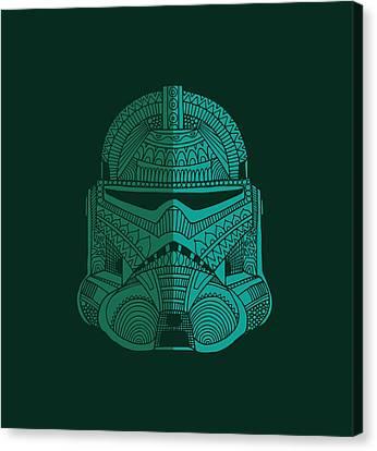 Stormtrooper Helmet - Star Wars Art - Blue Green Canvas Print