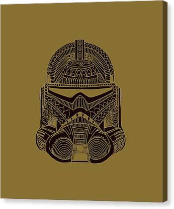 Stormtrooper Helmet - Star Wars Art - Brown  Canvas Print