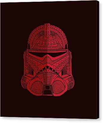 Stormtrooper Helmet - Star Wars Art - Red Canvas Print