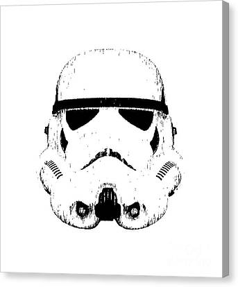 Stormtrooper Helmet Star Wars Tee Black Ink Canvas Print by Edward Fielding