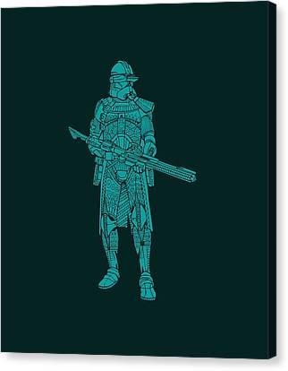Stormtrooper Samurai - Star Wars Art - Blue 03 Canvas Print