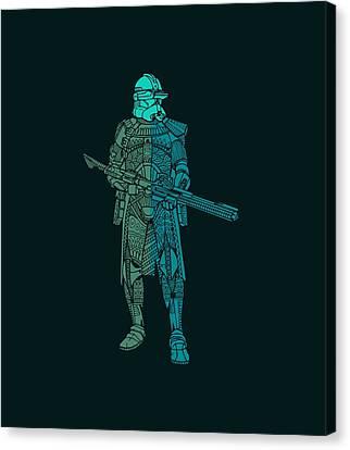 Stormtrooper Samurai - Star Wars Art - Blue, Navy, Teal Canvas Print