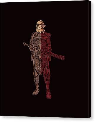 Stormtrooper Samurai - Star Wars Art - Red Brown Canvas Print