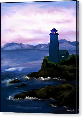 Canvas Print featuring the painting Stormy Blue Night by Susan Kinney