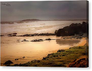 Canvas Print featuring the photograph Stormy Day At Gallows Beach by Wallaroo Images
