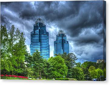 Stormy Day Blues The King And Queen Concourse Buildings  Atlanta Georgia Art Canvas Print by Reid Callaway