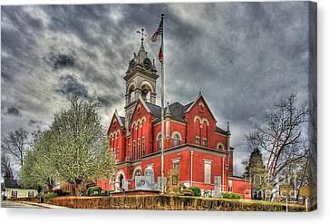 Stormy Day Jones County Georgia Court House Art Canvas Print by Reid Callaway