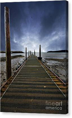 Stormy Jetty Canvas Print by Meirion Matthias