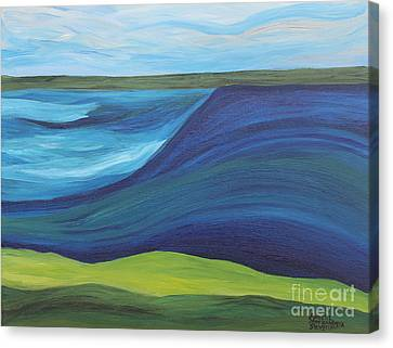 Stormy Lake Canvas Print by Annette M Stevenson