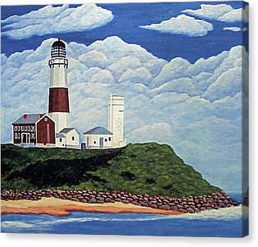 Canvas Print featuring the painting Stormy Montauk Point Lighthouse by Frederic Kohli