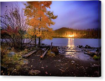 Canvas Print featuring the photograph Stormy Night At Round Lake by Cat Connor