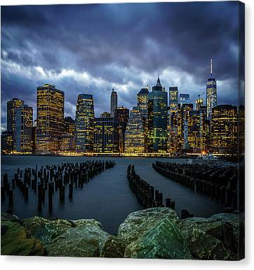 Stormy Night Over New York City Canvas Print