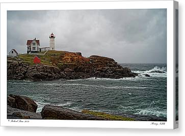 Canvas Print featuring the photograph Stormy Nubble by Richard Bean