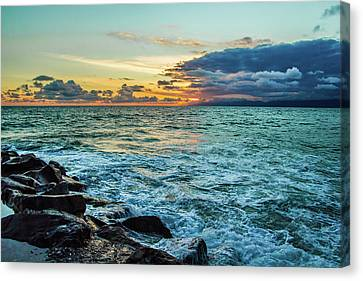 Canvas Print featuring the photograph Stormy Ocean Sunset by April Reppucci