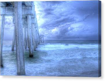 Stormy Pier Canvas Print by Larry Underwood