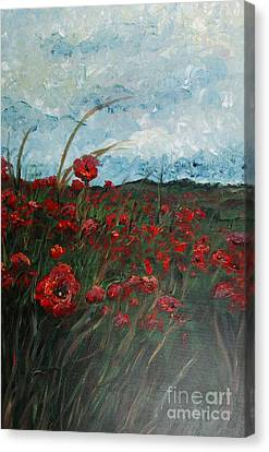 Stormy Poppies Canvas Print by Nadine Rippelmeyer