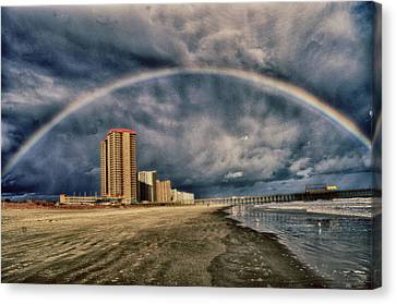 Canvas Print featuring the photograph Stormy Rainbow by Kelly Reber